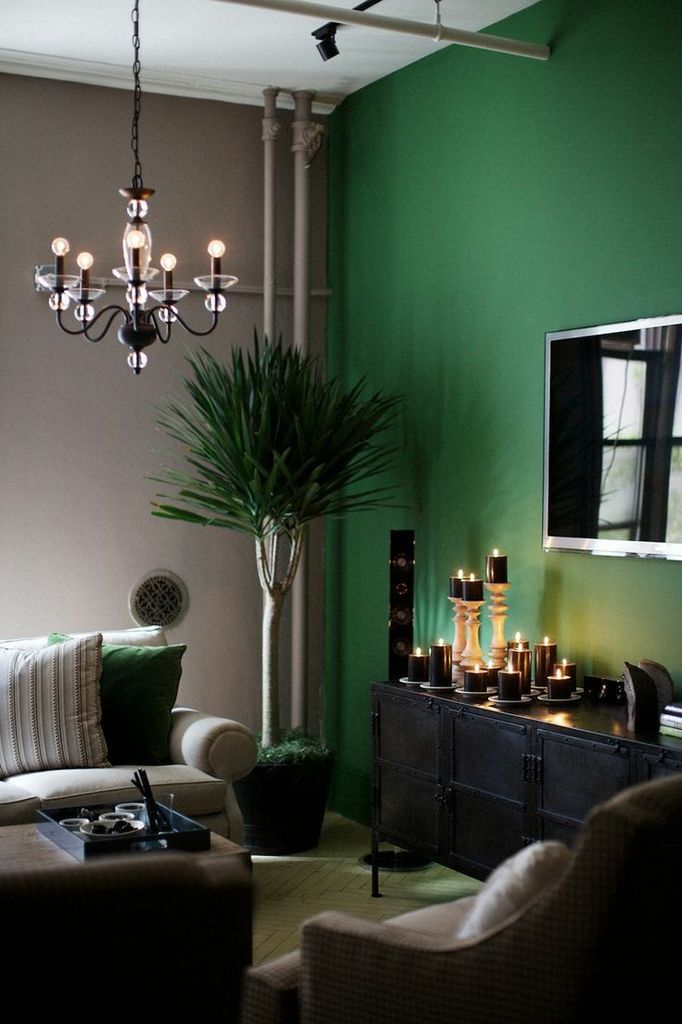 pintar solo una pared del salón de verde