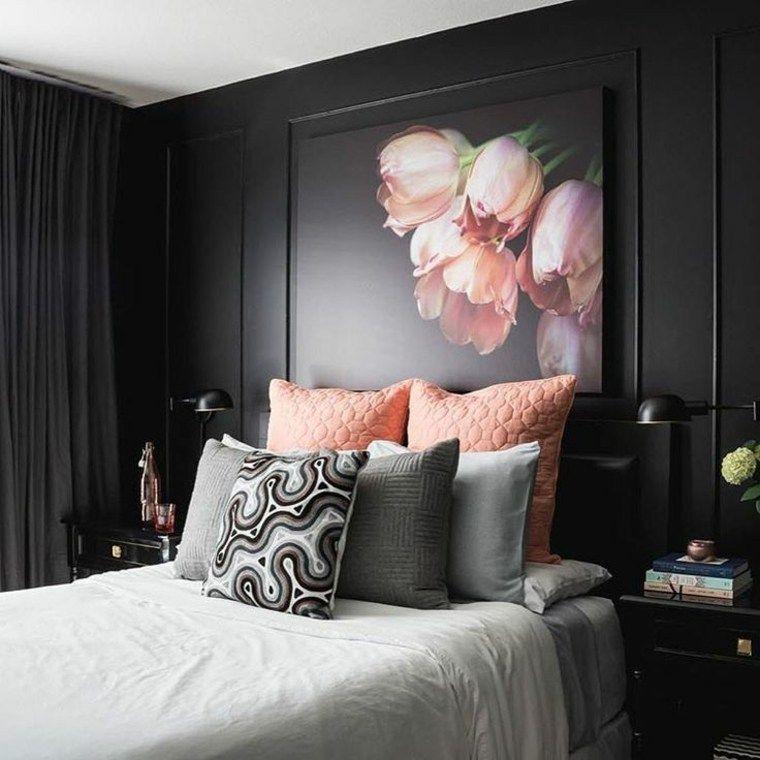 cuartos pintados bonitos negro con flores