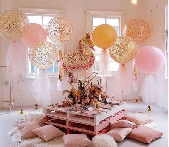 cuartos decorados  con globos con tul