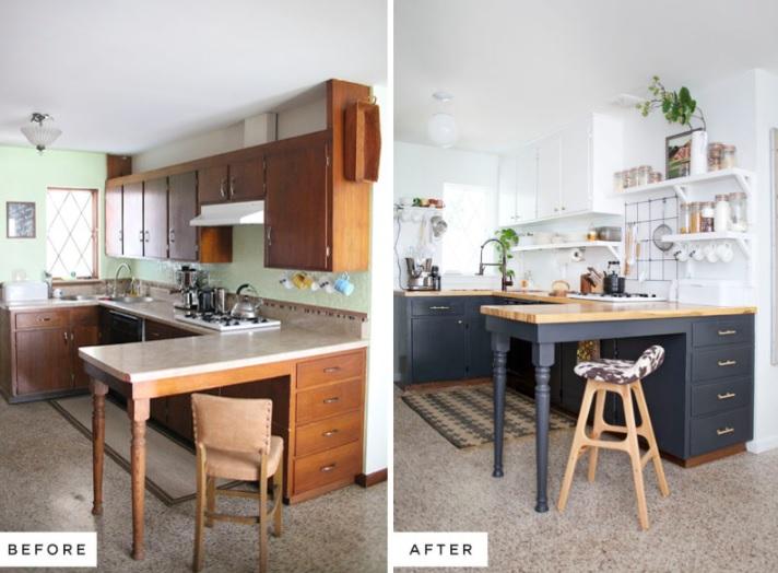 decoracion cocina blanco y negro renovada