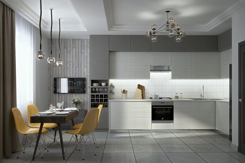 Cocina Comedor minimalista y gris
