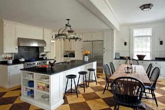 Cocina comedor con damero con suelo damero en madera