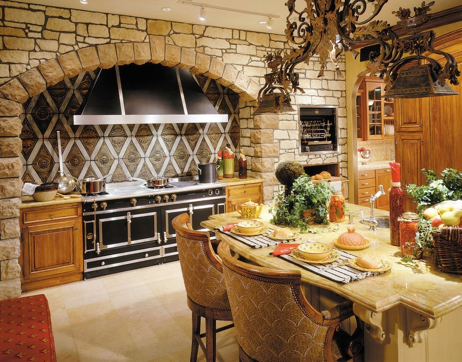 Cocina con piedra brillante
