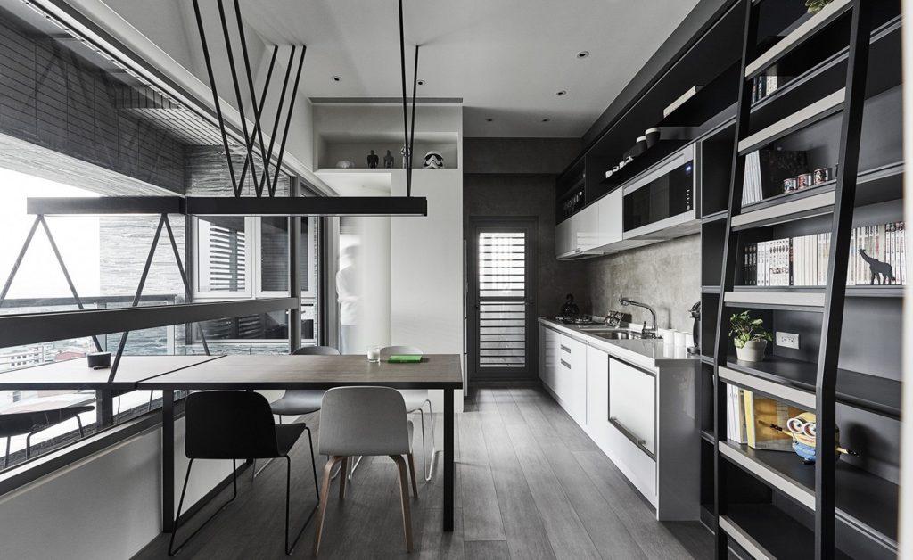 Cocina gris minimalista con un toque moderno
