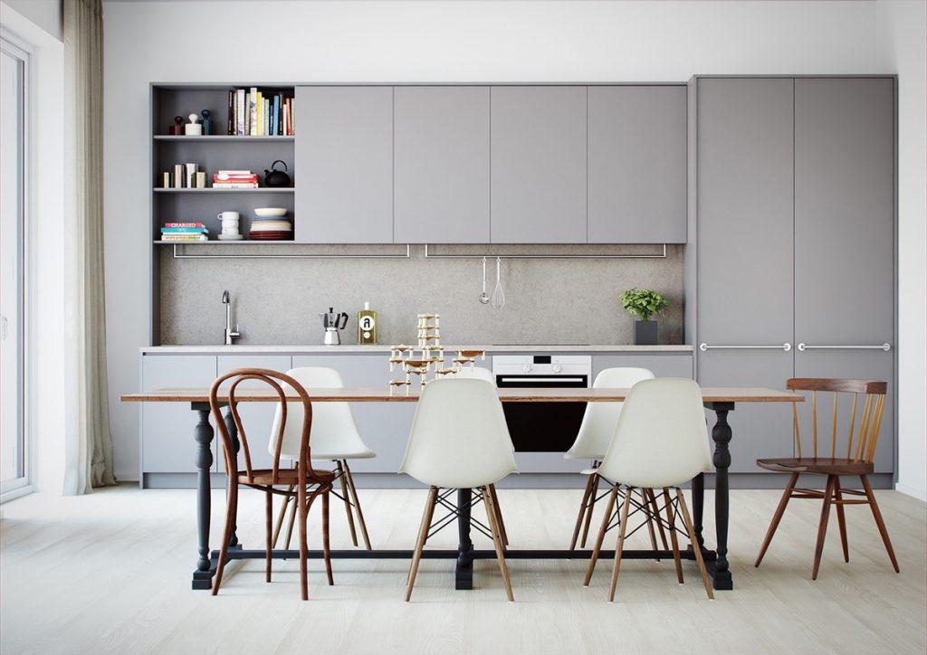 Cocina minimalista gris, madera y blanca