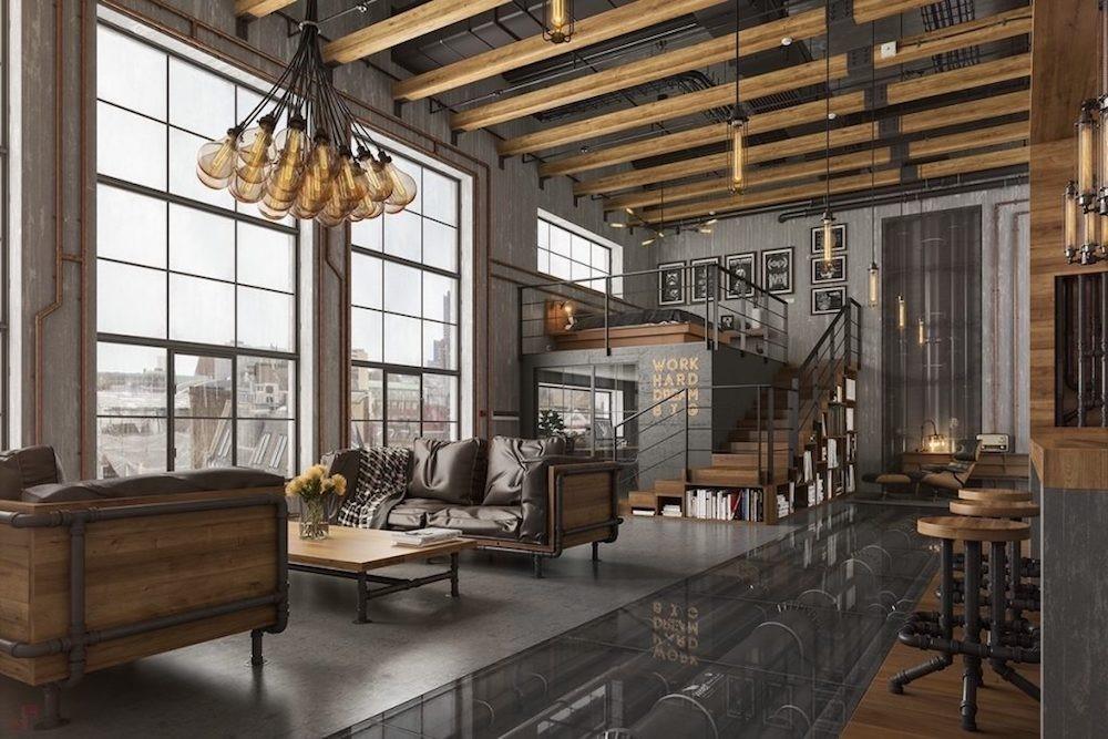 decoracion de salones industrial con suelo gris