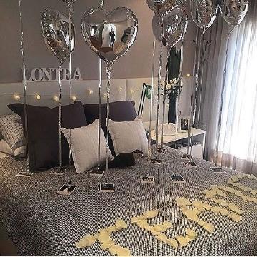 cuartos decorados con globos romanticos