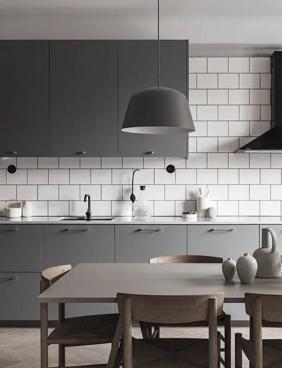 Cocinas con paredes grises sobrio