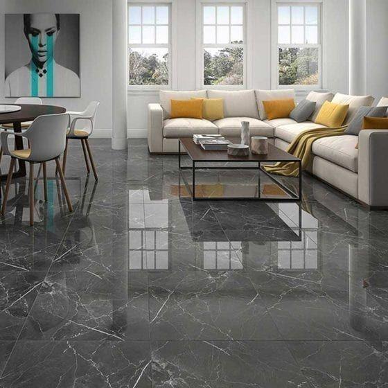 decoracion de salones de mármol con suelo gris