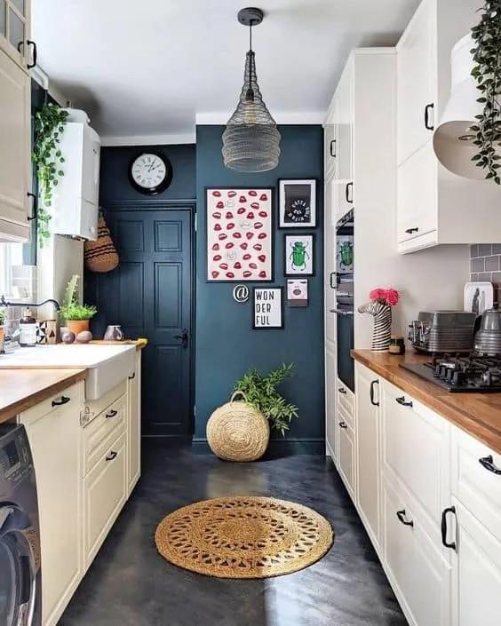 ideas para pintar cocina pequeña azul