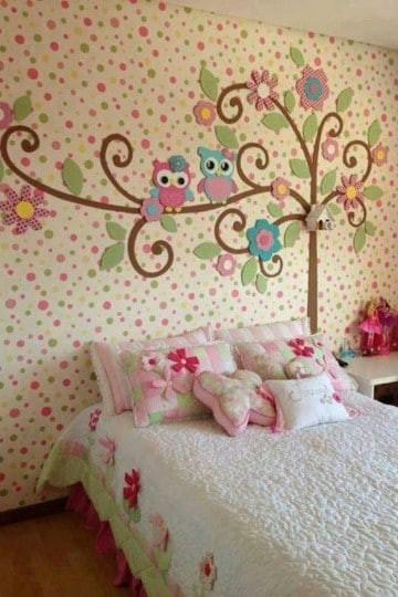 cuartos para niña de 11 años modernos  pared de colores