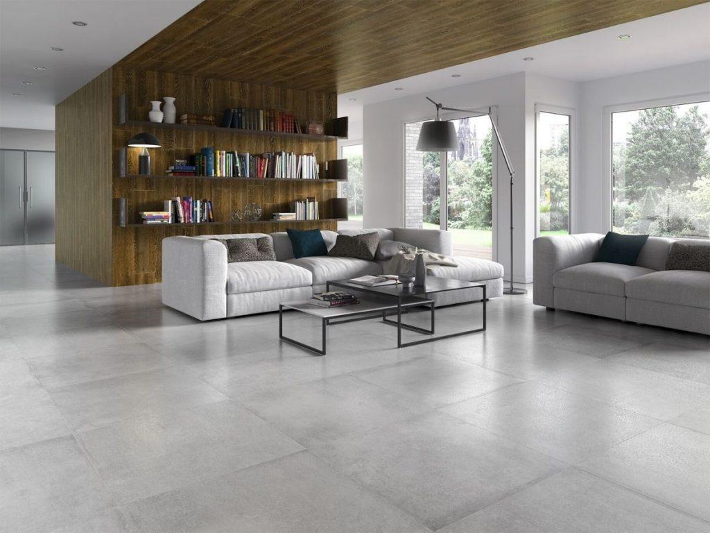 decoracion de salones amplios con suelo gris