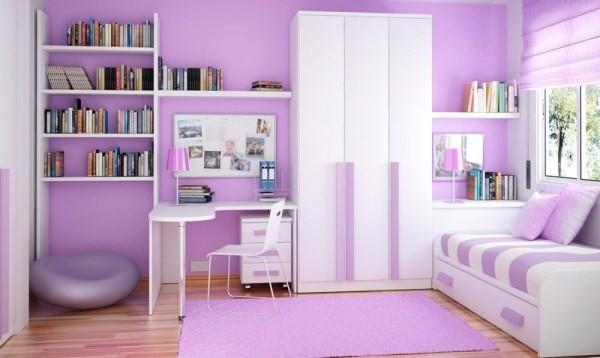 cuartos para niña de 11 años modernos  lila y blanco