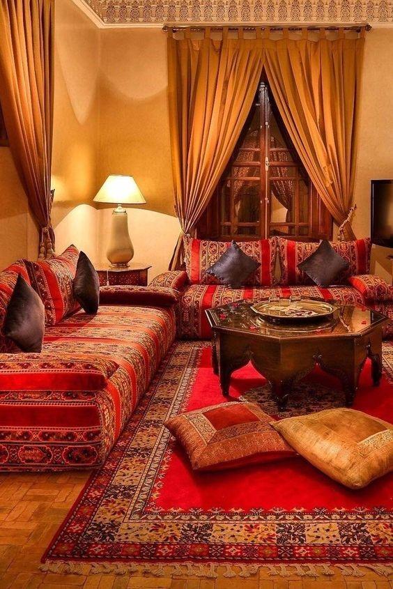 salones con decoracion arabe colorido