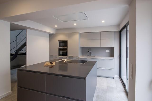 Cocinas con paredes grises con isla