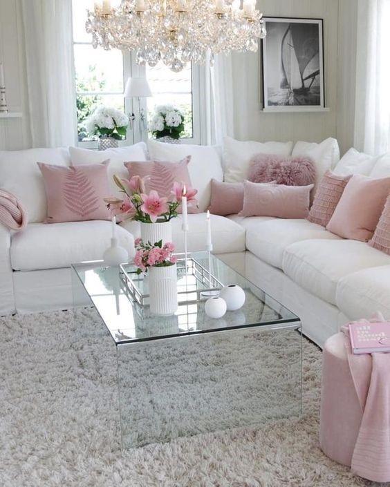 Salones decorados en gris y rosa romantico