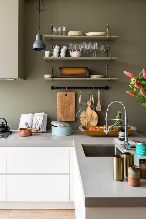 ideas para pintar paredes de cocina marrones