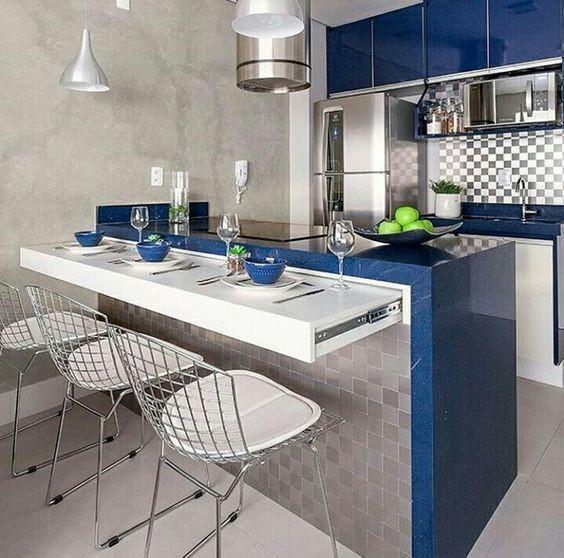 decoracion de cocinas muy pequeñas azules