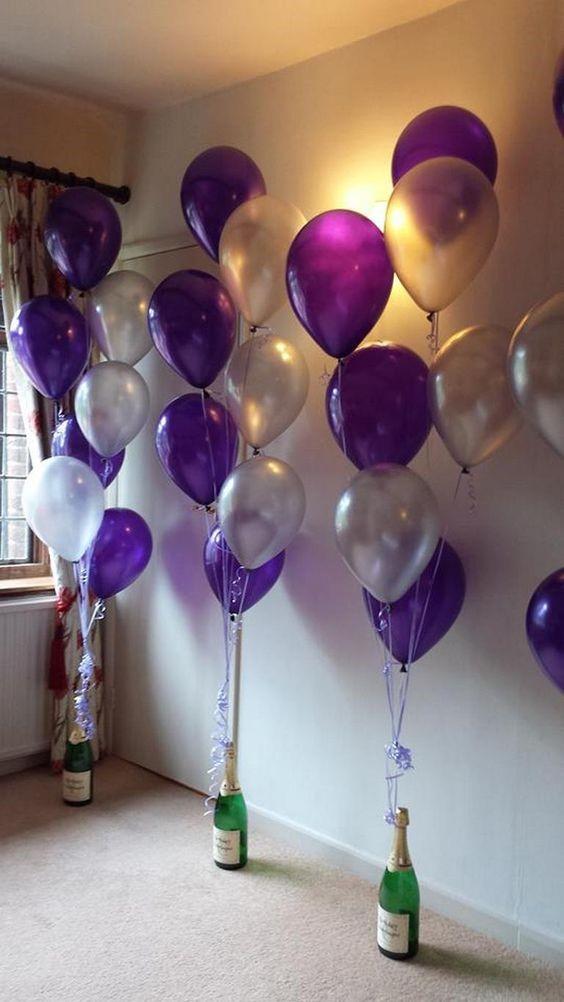 cuartos decorados con globos con vinos