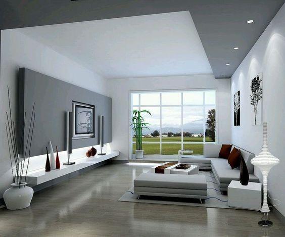 decoracion de salones grandes con suelo gris