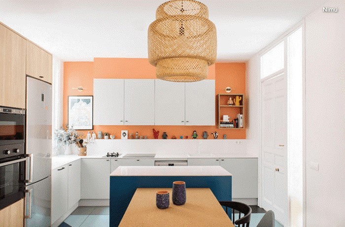 ideas para pintar cocina pequeña naranjas