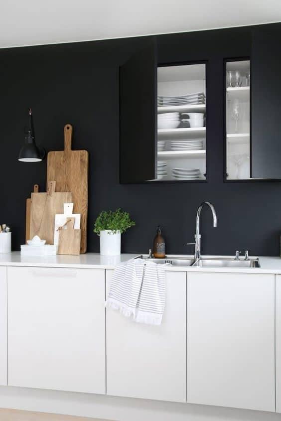 ideas para pintar paredes de cocina negras
