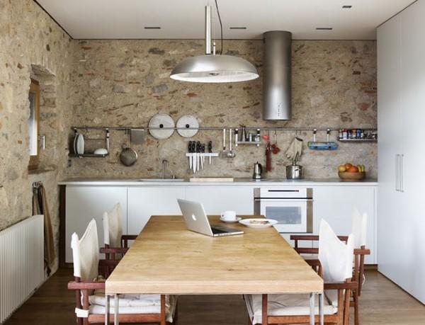 Cocinas comedor estilo rústico moderno con piedra