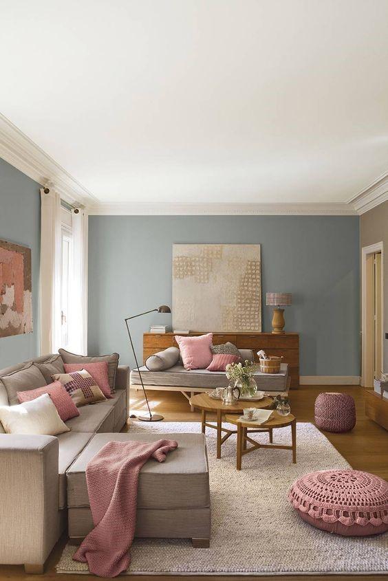 Salones decorados en gris y rosa rustico