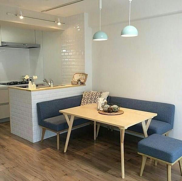 Cocinas comedor pequeñas modernas con ladrillo blanco