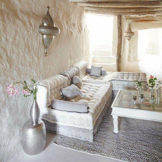 salones con decoracion arabe rustica