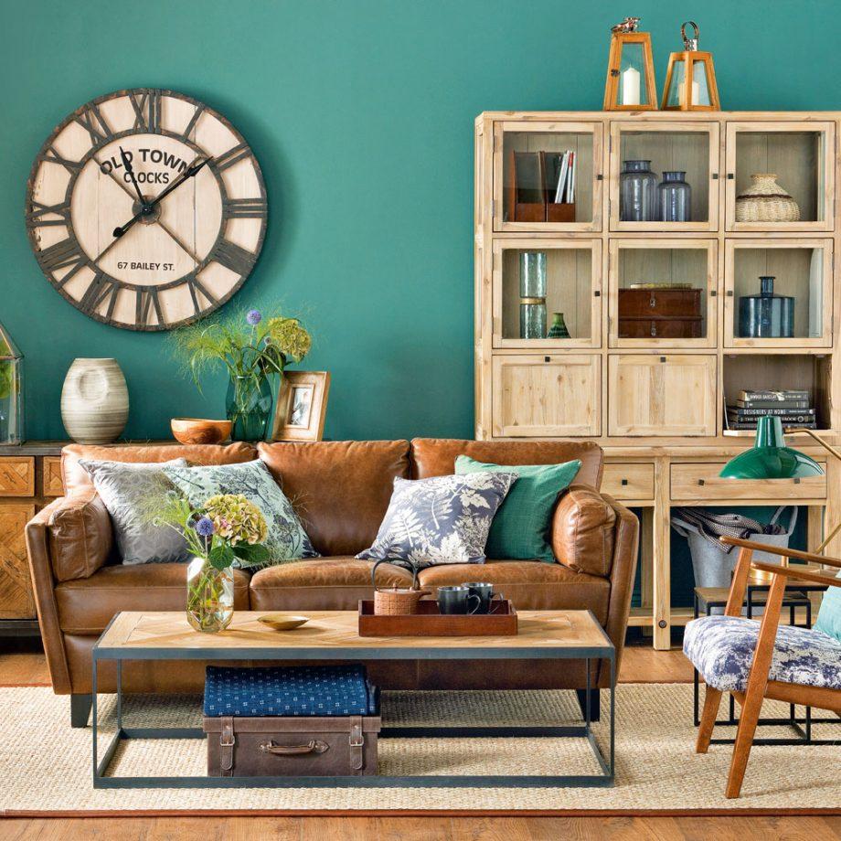 salon en dos colores: azul y marrón