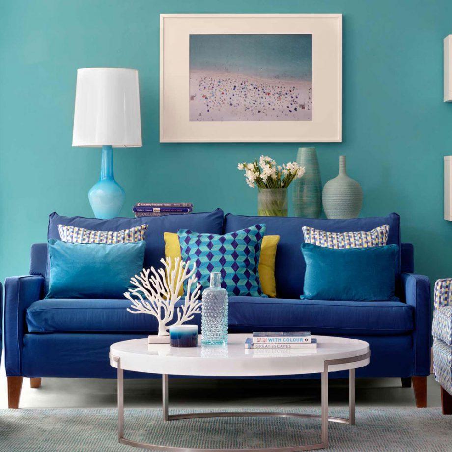 salon en dos colores: turquesa y azul