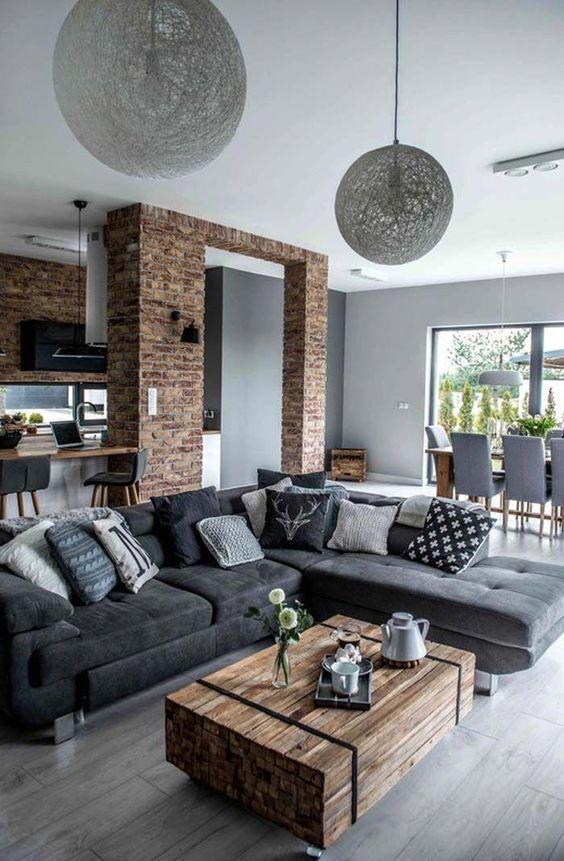 Salones sofisticados y adaptables en gris y madera