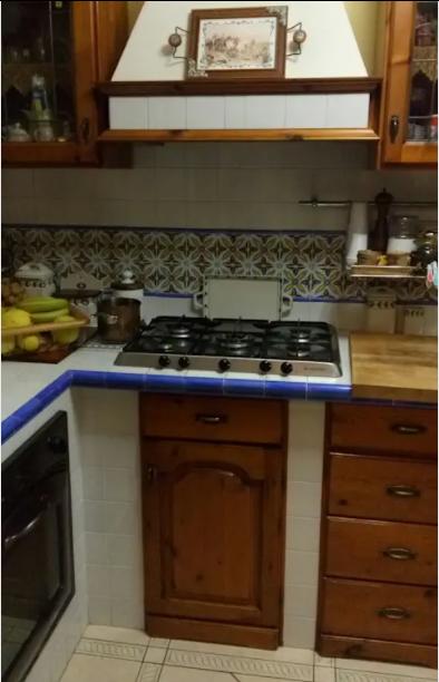 Talaveras como cenefa en la cocina