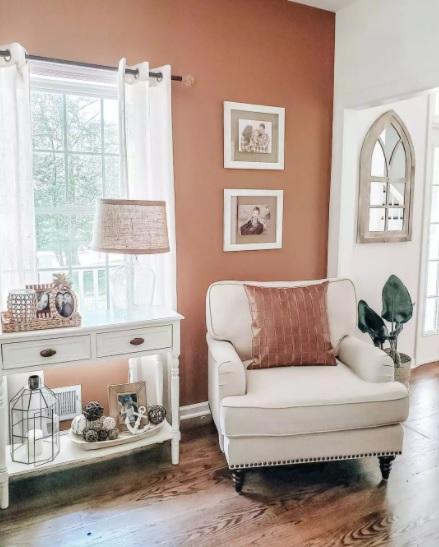 pintar solo una pared del salón de naranja