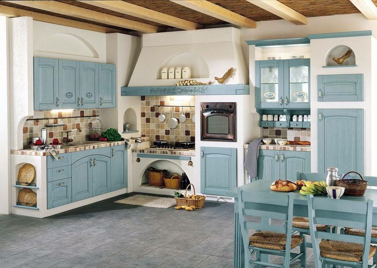 decoracion de cocinas antiguas azules