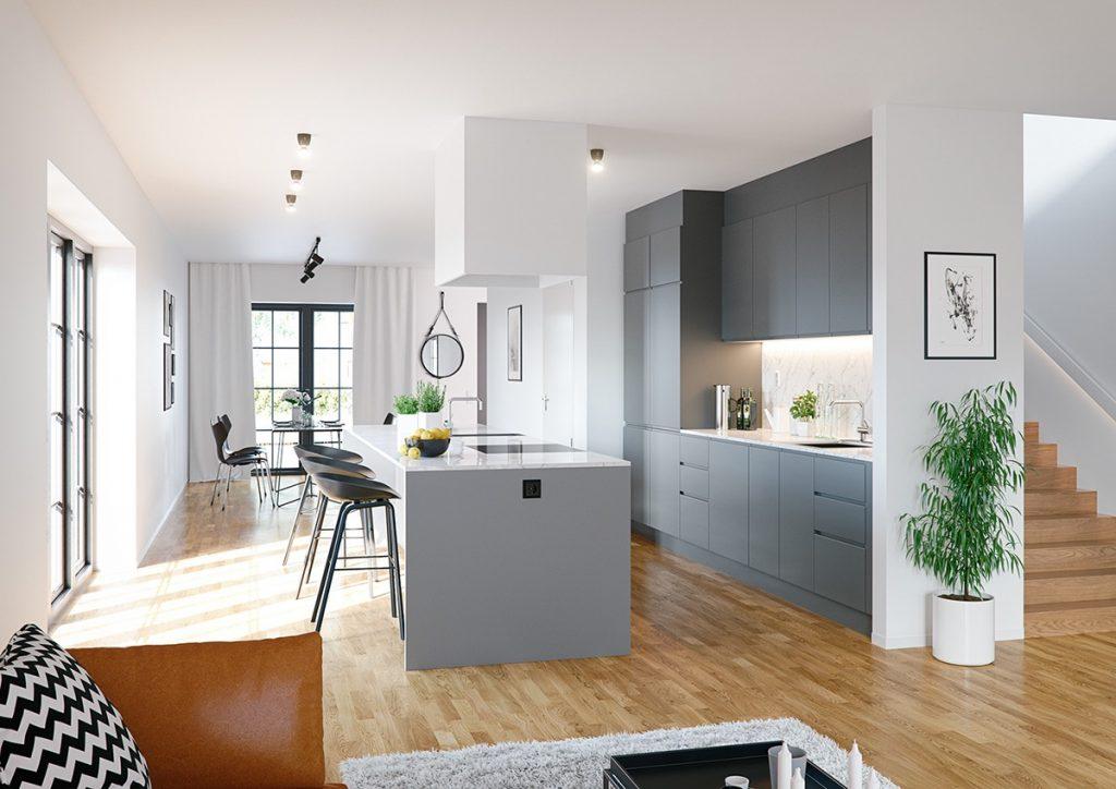 cocina Acogedora minimalista en gris y blanco