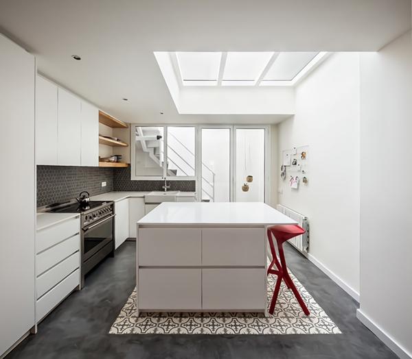 cocinas con paredes blancas con toque de color