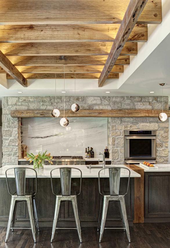 cocina farmhouse con un toque de piedra
