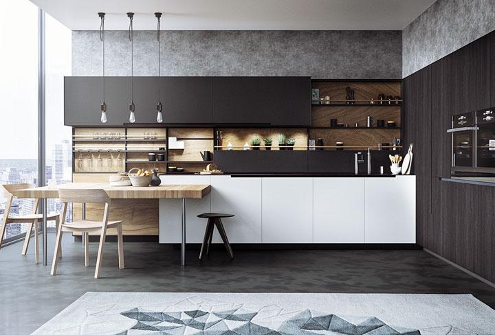 decoracion cocina blanco y negro con madera