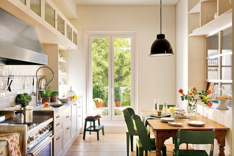 cocinas con paredes blancas escandinavo