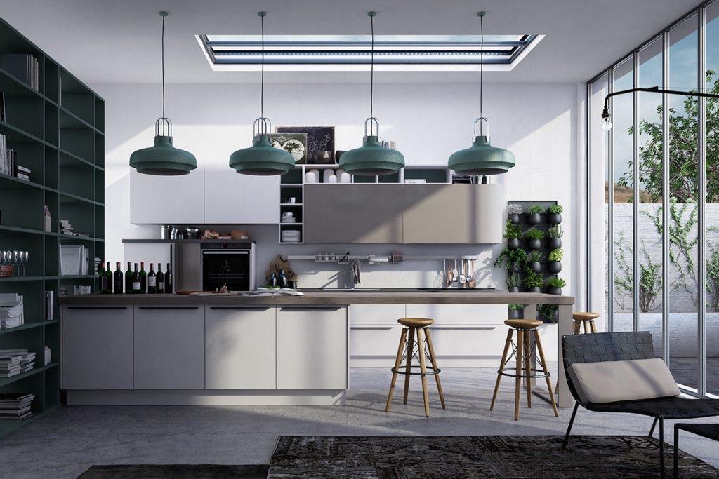 cocina minimalista gris y verde