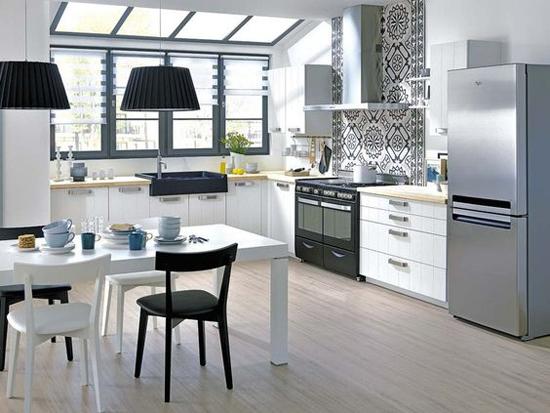 decoracion cocina blanco y negro sofisticada