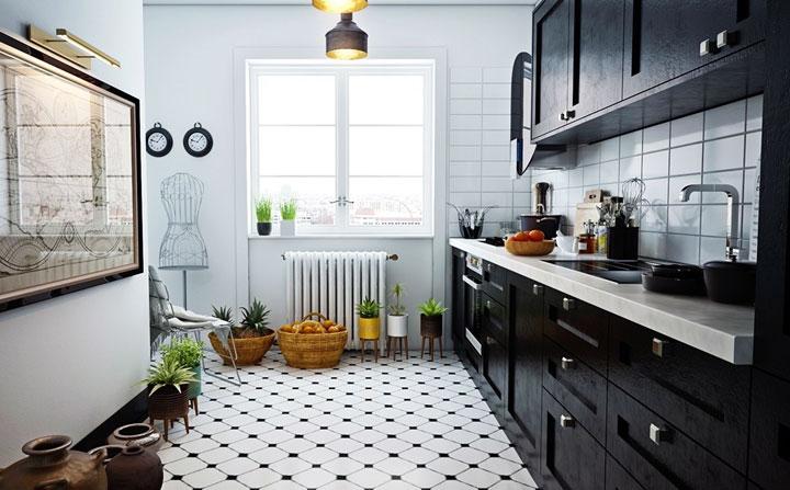 decoracion cocina blanco y negro vintage
