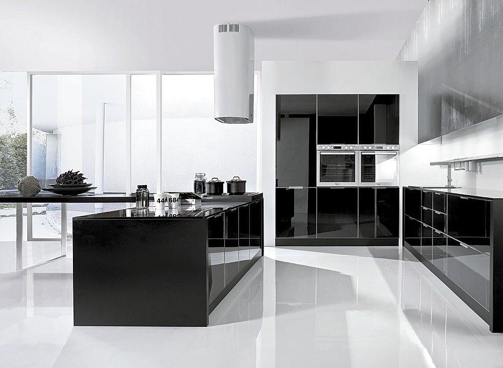 decoracion cocina blanco y negro minimalista