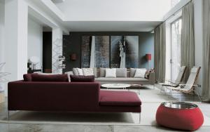 decoración con sofás granates