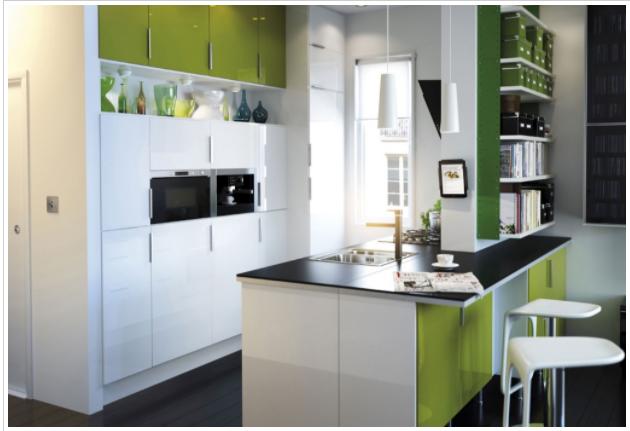 cocina pequeña moderna colorida