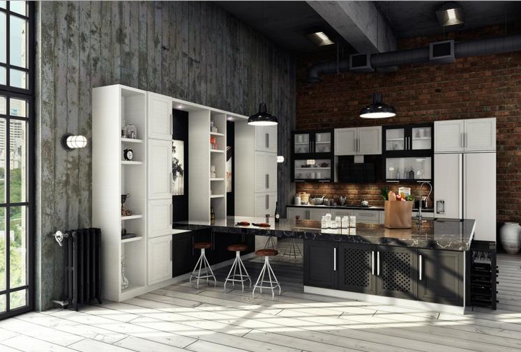 cocina gris y blanco industrial