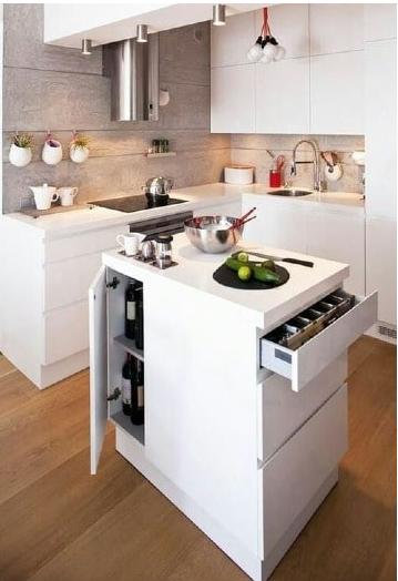cocina pequeña moderna con isla