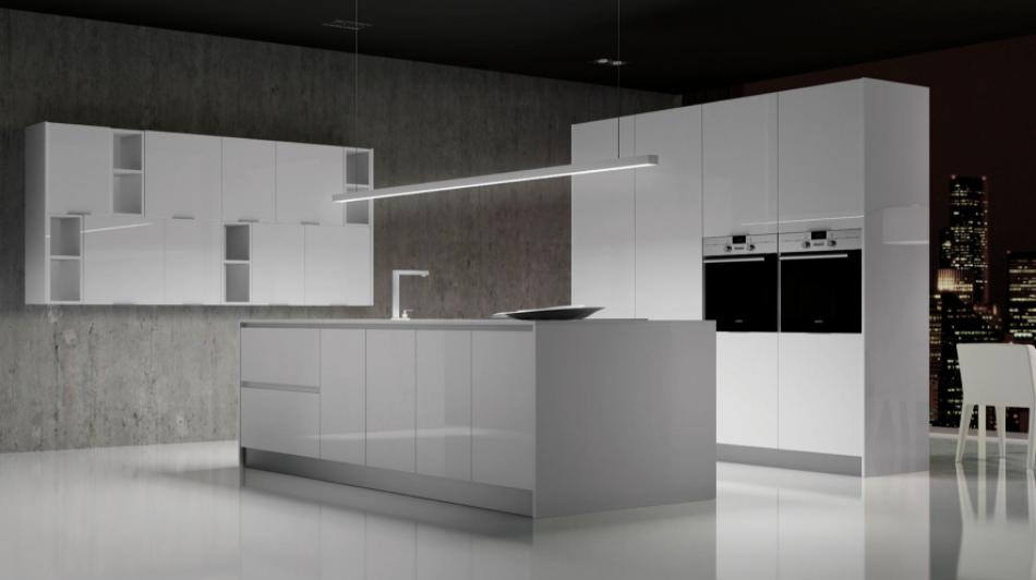 cocina gris y blanco futurista